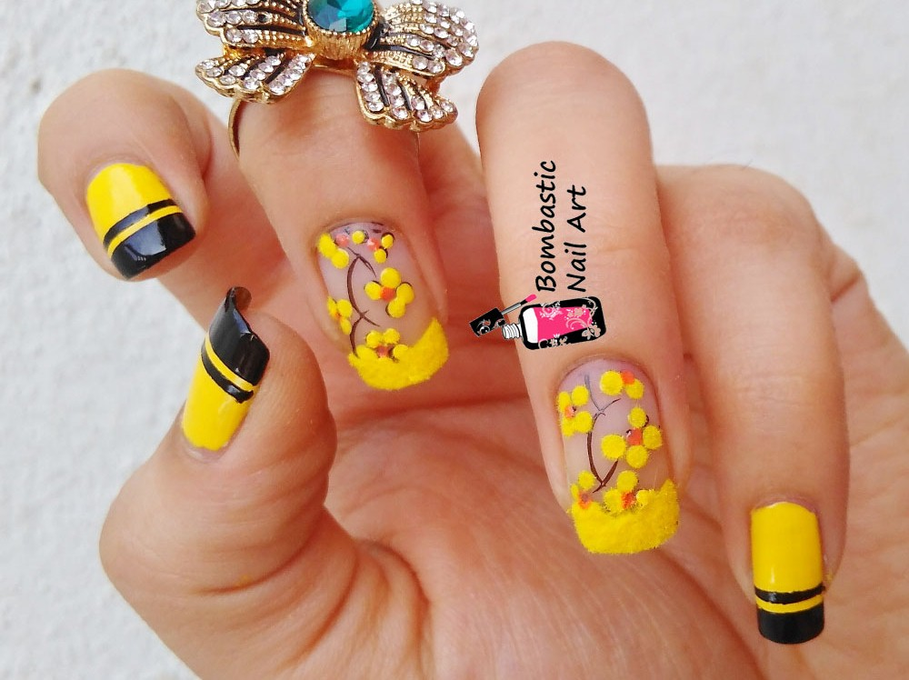 How to Yellow Flower Fluffy Nails – Bombastic Nail Art