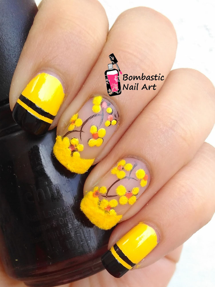 How To Yellow Flower Fluffy Nails Bombastic Nail Art