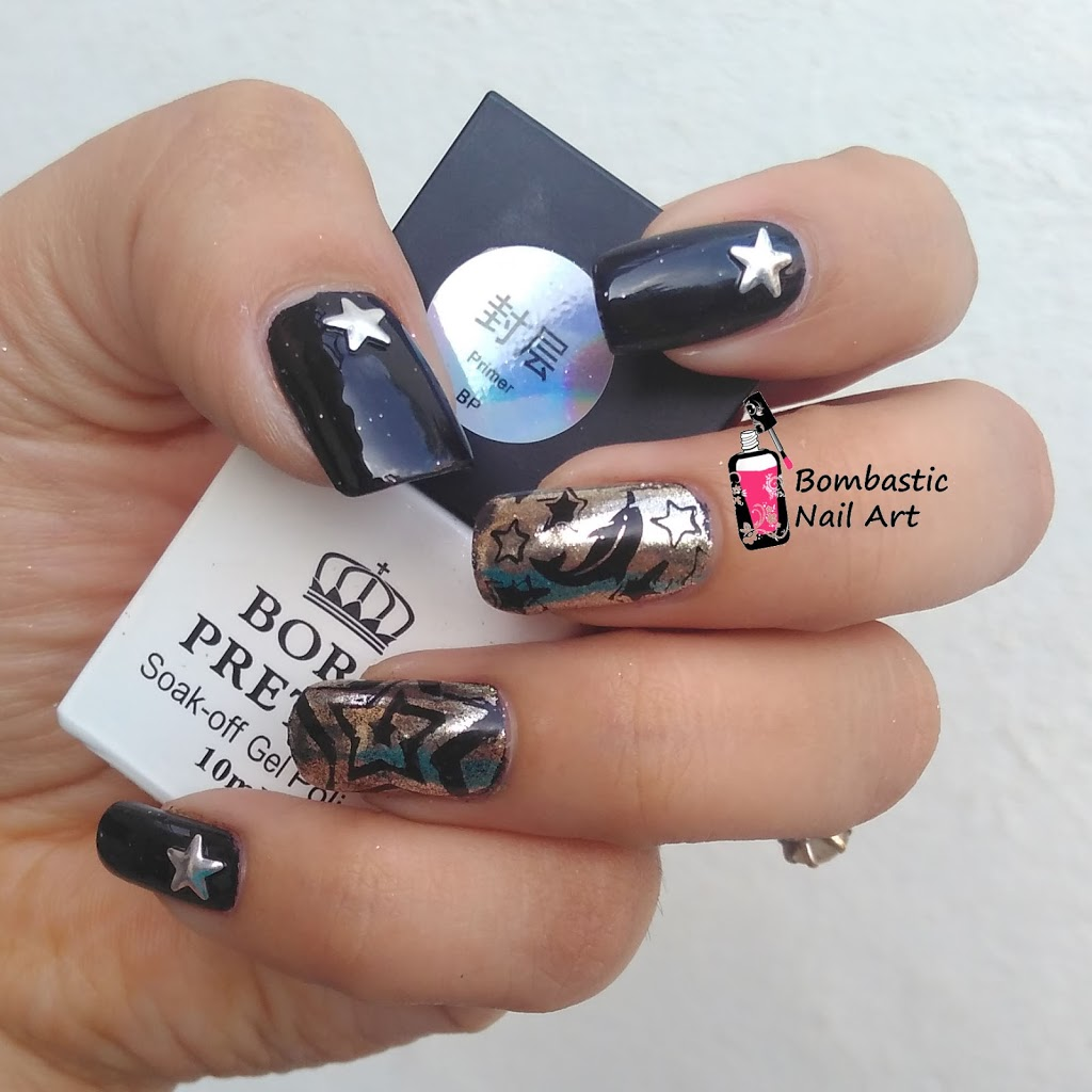 Born Pretty Chrome Powder Review With Star Nail Vinyl And