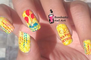 Birthday Stamping Nail Art