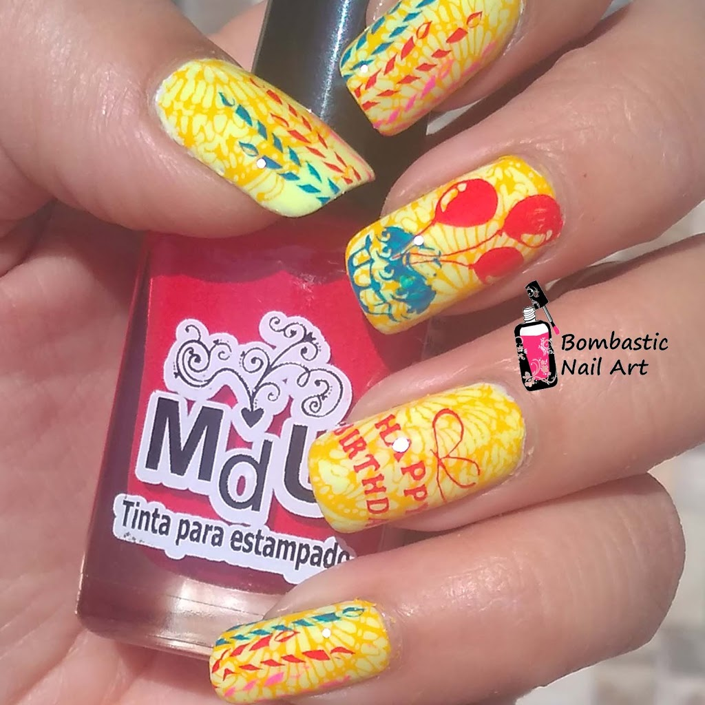 Happy Birthday Stamping Plate Nail Art Ideas Bombastic Nail Art