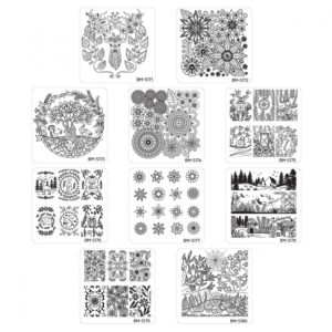 10pc-nature-themed-nail-stamp-plates---mystic-woods-set-1