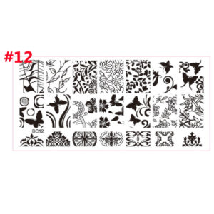 Stamping Nail Art Rectangular Big Image Plate 6*12cm Lace Flowers Template BC-12
