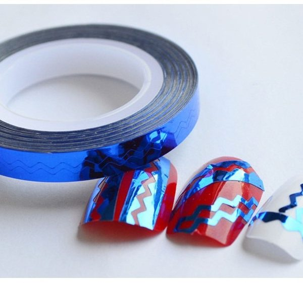 Blue Chevron Zig Zag Striping Tape Colorful Nail Art Wave Line Nail Stickers Tools