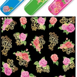 J147 GOLDEN GOLD FOIL Flower Lace Nail Art Stickers Water Transfer Slider Decals Latest 2017