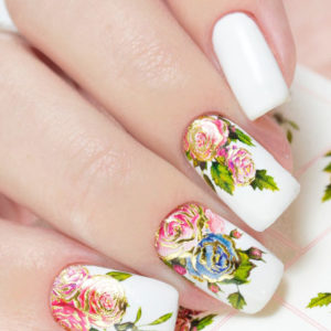 J185 Big Flower Lace Nail Art Stickers Water Transfer Slider Decals Latest