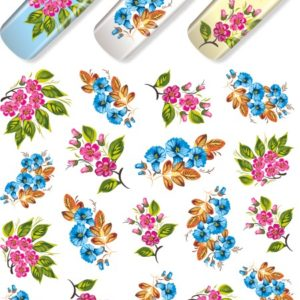 N614 Big Flower Lace Nail Art Stickers Water Transfer Slider Decals Latest