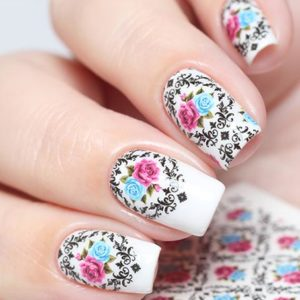 N715 Big Pink Flower Lace Nail Art Stickers Water Transfer Slider Decals Latest