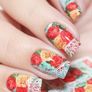 N808 Big Red Flower Lace Nail Art Stickers Water Transfer Slider Decals Latest