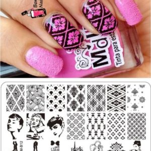 Stamping Nail Art Rectangular Big Image Plate 6*12cm Lace Flowers Template OM-B12
