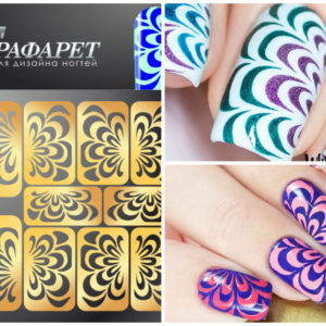 Water Marble Cheat Stencil Stencils Guide Hollow Vinyl Sticker DIY Nail Art Tool