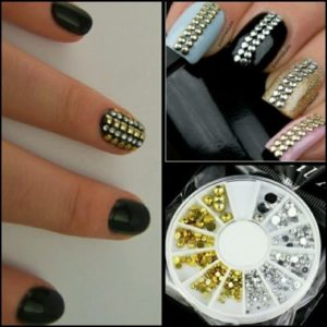 3d GOLDEN SILVER Acrylic Flat Back Stud Decoration Accessories Nail in 6 Sizes