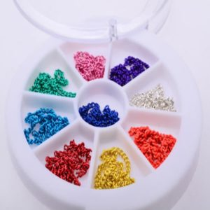 3D Metal Chain Nail Art Decoration,12cm Mix 9 colors Stylish Design Accessories
