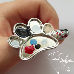 Feet Design Cosmetic Makeup Mixing Palette Tool Stainless Steel Nail Art Ring