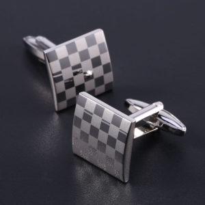 Vintage Stainless Steel Cufflinks Square Men's Wedding Grid Laser Cuff Links