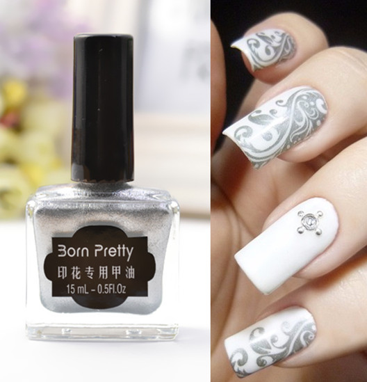 Silver Born Pretty 15 Ml Stamping Nail Polish Art New Sweet Color
