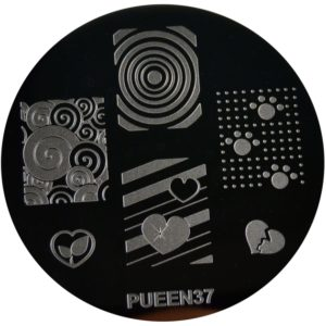 Pueen Stamping Nail Art Round Big Image Plate 24E Love Elements Collection 37