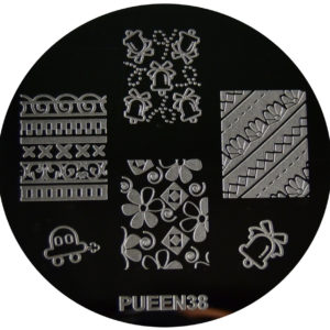 Pueen Stamping Nail Art Round Big Image Plate 24E Love Elements Collection 38