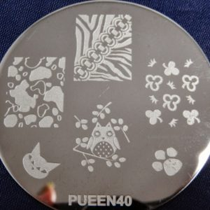 Pueen Stamping Nail Art Round Big Image Plate 24E Love Elements Collection 40