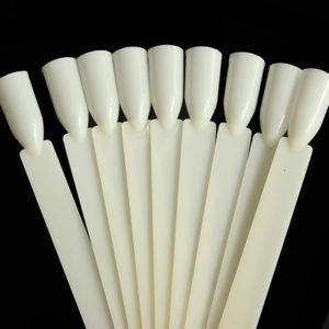 50Pcs Pops Nail Art Tips Sticks Display Stand White Nude Salon Chart False Nail