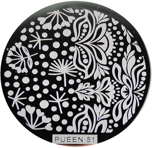 Pueen Stamping Nail Art Round Big Image Plate 24B Buffet Collection 51
