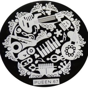 Pueen Stamping Nail Art Round Big Image Plate 24B Buffet Collection 67