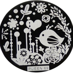 Pueen Stamping Nail Art Round Big Image Plate 24B Buffet Collection 69