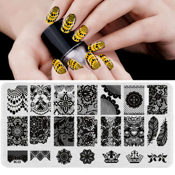 Stamping Nail Art Rectangular Big Image Plate 6*12cm Lace Flowers Template BC-03