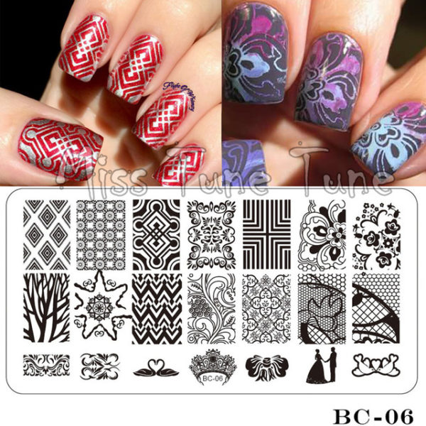 Stamping Nail Art Rectangular Big Image Plate 6*12cm Lace Flowers Template BC-06