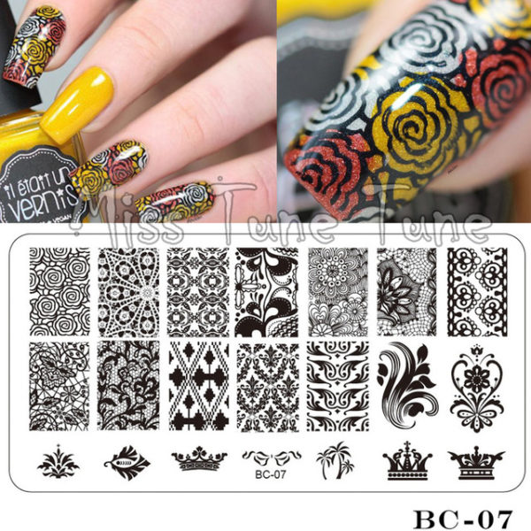 Stamping Nail Art Rectangular Big Image Plate 6*12cm Lace Flowers Template BC-07