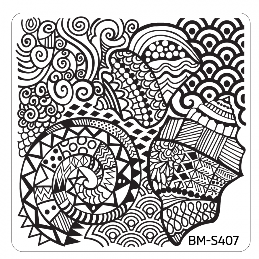 Bundle Monster Square Nail Art Stamping Plate Hangloose Collection