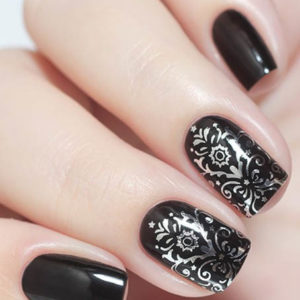 F123 SILVER FOIL Flower Lace Nail Art Stickers Water Transfer Slider Decals Latest 2017