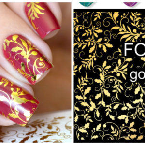 GOLDEN GOLD FOIL Flower Lace Nail Art Stickers Water Transfer Slider Decals Latest 2017 F135