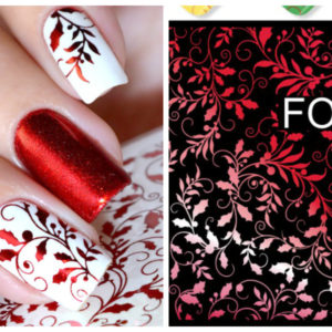 F135 RED FOIL Flower Heart Nail Art Stickers Water Transfer Slider Decals Latest 2017