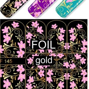 F145 PINK GOLDEN FOIL Flower Lace Nail Art Stickers Water Transfer Slider Decals Latest 2017