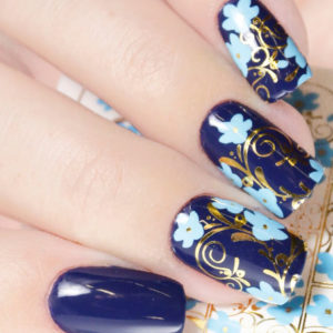 F145 BLUE GOLDEN FOIL Flower Lace Nail Art Stickers Water Transfer Slider Decals Latest 2017