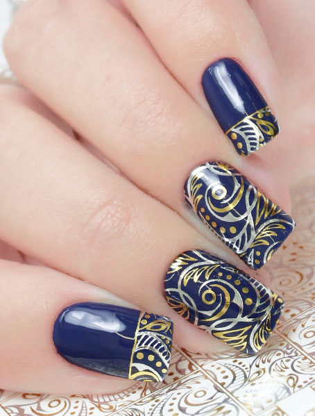 F149 Golden Silver Foil Flower Lace Nail Art Stickers Water Transfer