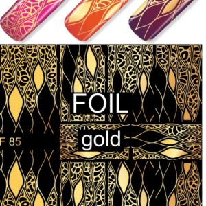 F085 GOLDEN GOLD FOIL Flower Heart Nail Art Stickers Water Transfer Slider Decals Latest 2017
