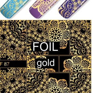 F087 GOLDEN GOLD FOIL Flower Heart Nail Art Stickers Water Transfer Slider Decals Latest 2017