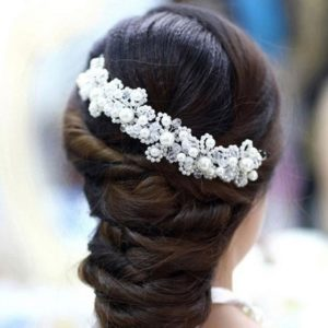 Hair Accessories Floral Wedding Pearl Crystal Bridal Tiara Hairpin Accessories