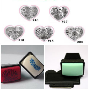 Heart Stamping Nail Art Image Plate Lace Flowers Template Set