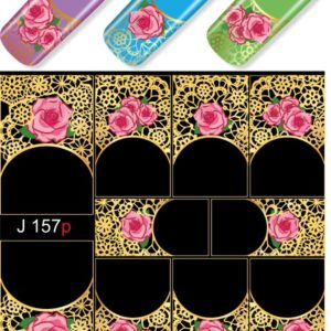 J157 GOLDEN GOLD FOIL Flower Lace Nail Art Stickers Water Transfer Slider Decals Latest 2017
