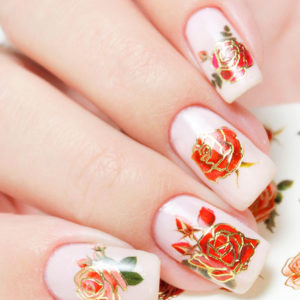 J182 GOLDEN GOLD FOIL Flower Lace Nail Art Stickers Water Transfer Slider Decals Latest 2017