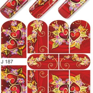 J187 GOLDEN GOLD FOIL Flower Heart Nail Art Stickers Water Transfer Slider Decals Latest 2017