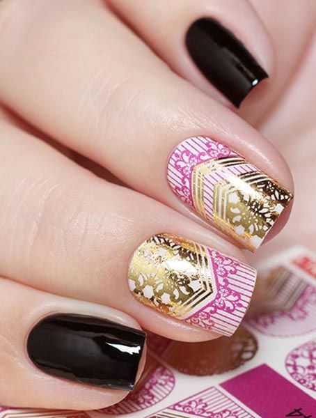 J044 GOLDEN GOLD FOIL Flower Lace Nail Art Stickers Water Transfer Slider Decals Latest 2017 (Copy)
