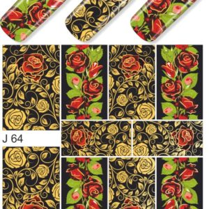 J064 GOLDEN GOLD FOIL Flower Lace Nail Art Stickers Water Transfer Slider Decals Latest 2017