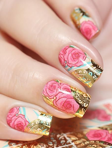 J071 GOLDEN GOLD FOIL Flower Lace Nail Art Stickers Water Transfer Slider Decals Latest 2017