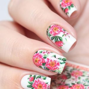 N706 Big Pink Flower Lace Nail Art Stickers Water Transfer Slider Decals Latest