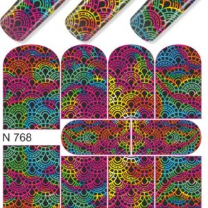 N768 Big Black Rainbow Lace Nail Art Stickers Water Transfer Slider Decals Latest