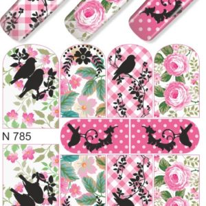 N785 Big Flower Lace Birds Layered Nail Art Stickers Water Transfer Slider Decals Latest